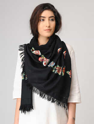 Black-Red Aari-embroidered Wool Stole