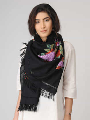 Black-Purple Aari-embroidered Wool Stole