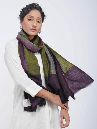 Green-Purple Ikat Pashmina Cashmere Stole