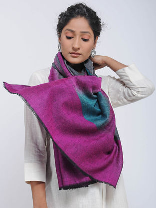 Grey-Purple Ikat Pashmina Cashmere Stole