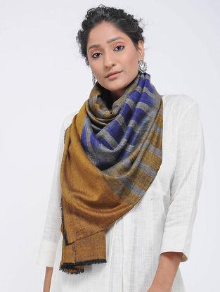 Grey-Blue Ikat Pashmina Cashmere Stole