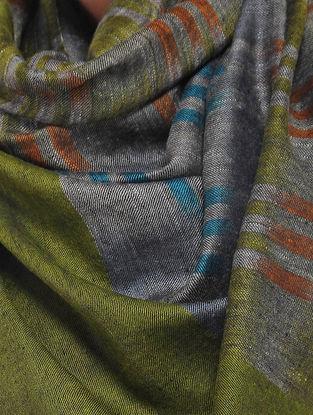 Green-Grey Ikat Pashmina Cashmere Stole