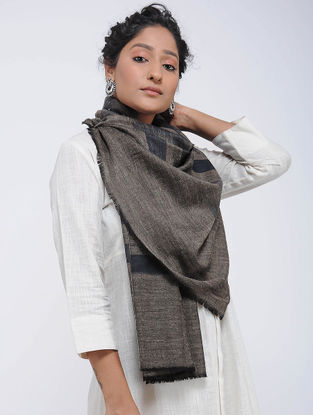 Grey-Black Ikat Pashmina Cashmere Stole