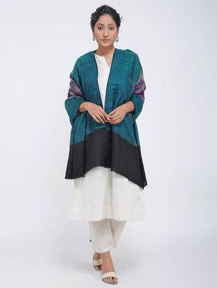 Blue-Black Ikat Pashmina Cashmere Shawl