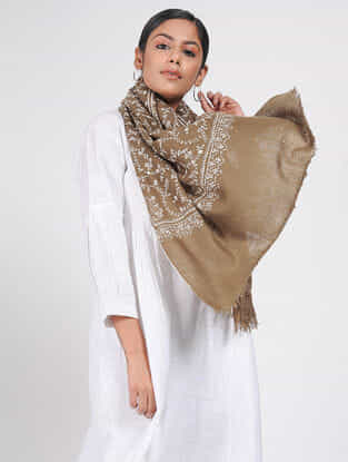 Brown-Ivory Sozni-embroidered Pashmina/ Cashmere Stole