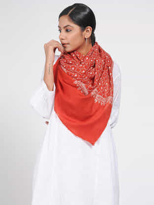 Red-Ivory Sozni-embroidered Pashmina/ Cashmere Stole