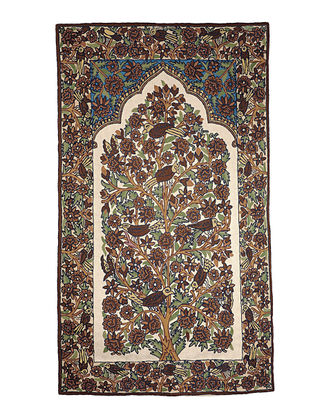 Chain-Stitch Hand Embroidered Wool Rug 60in x 35in