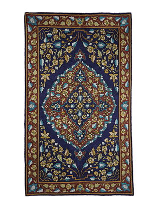 Chain-Stitch Hand Embroidered Wool Rug 59in x 36in
