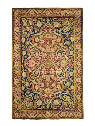 Chain-Stitch Hand Embroidered Wool Rug 71in x 47in