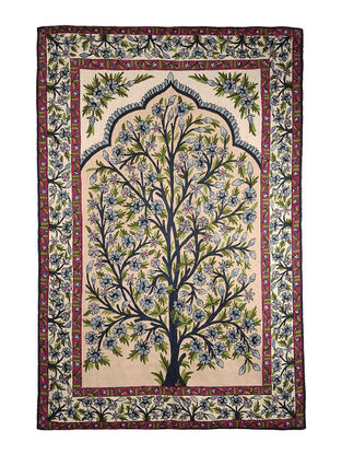 Chain-Stitch Hand Embroidered Wool Rug 70in x 46in