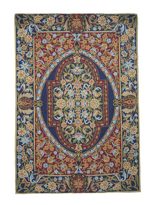 Chain-Stitch Hand Embroidered Wool Rug 69in x 48in