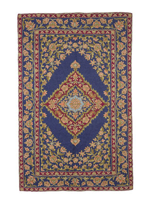 Chain-Stitch Hand Embroidered Wool Rug 61in x 39in