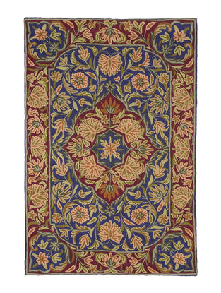 Chain-Stitch Hand Embroidered Wool Rug 46in x 31in