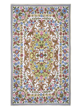 Multi-Color Crewel Hand Embroidered Wool Rug 58in x 36in