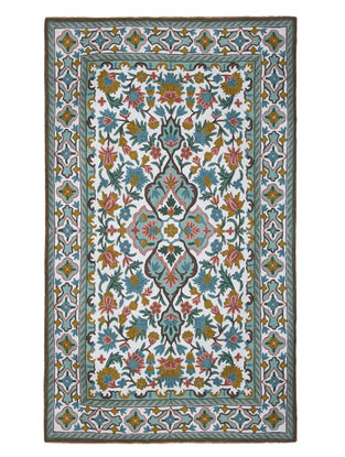 Multi-Color Crewel Hand Embroidered Wool Rug 57in x 36in