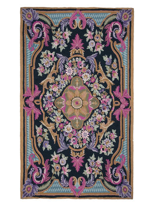 Multi-Color Crewel Hand Embroidered Wool Rug 72in x 47in