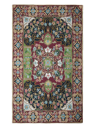 Multi-Color Crewel Hand Embroidered Wool Rug 69in x 49in