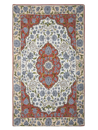 Multi-Color Crewel Hand Embroidered Wool Rug 70in x 47in