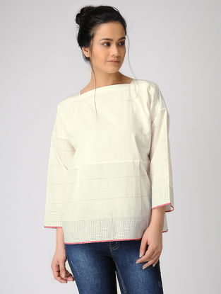 White Checkered Handloom Muslin Top