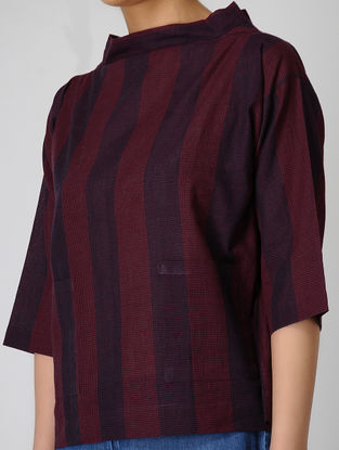Red-Blue Checkered Handloom Muslin Top