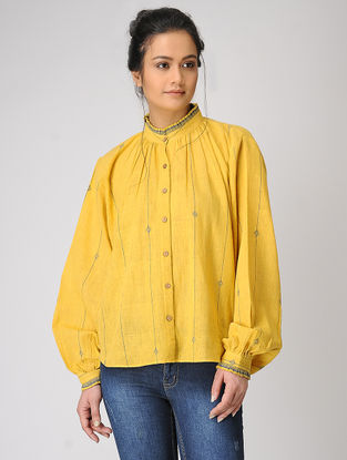 Yellow Pleated Collar Organic Cotton Shirt