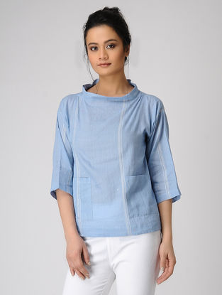Blue Jamdani Top with Pocket