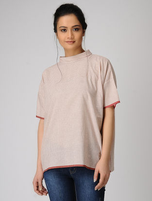 White-Red Checkered Handloom Muslin Top