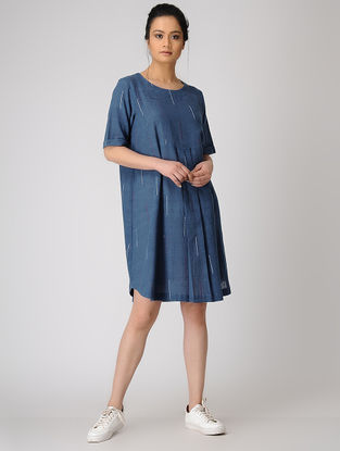 Blue Pleated Organic Cotton Dress