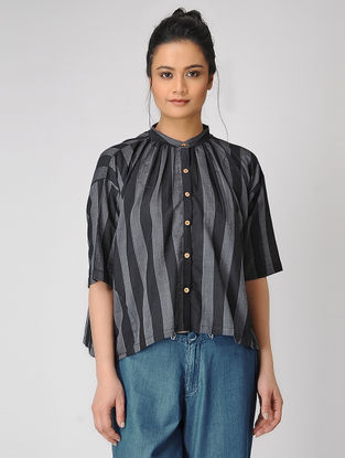 Black Mandarin Collar Handloom Muslin Shirt