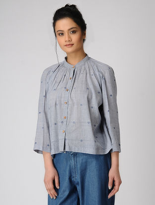 Blue Mandarin Collar Jamdani Shirt