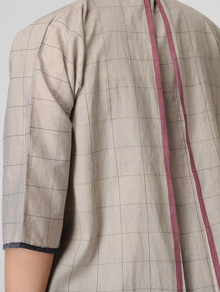 Taupe Pleated Checkered Handloom Muslin Shirt with Mandarin Collar