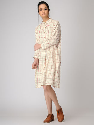 White-Red Pleated Checkered Jamdani Dress with Pocket