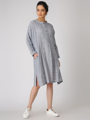Blue Pleated Jamdani Dress with Pocket