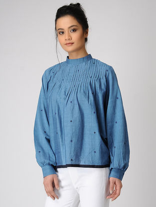 Blue Pintuck Handloom Muslin Top