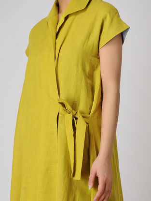 Mustard-Grey Tie-up Khadi Cotton Dress
