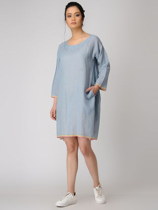 Blue Jamdani Dress with Pocket