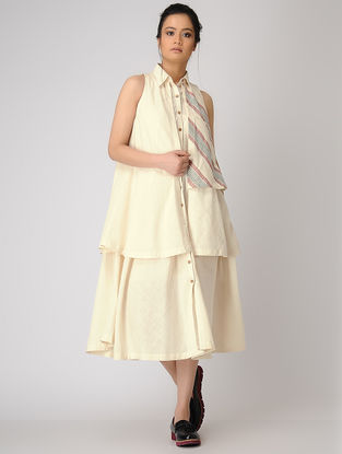 Ivory Layered Button-down Khadi Dress