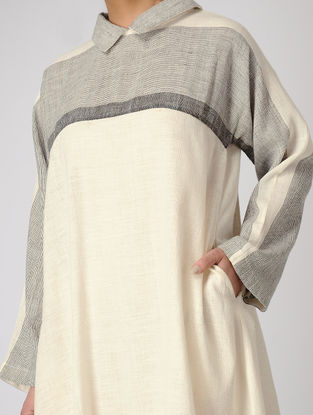 White-Grey Khadi Dress with Pocket