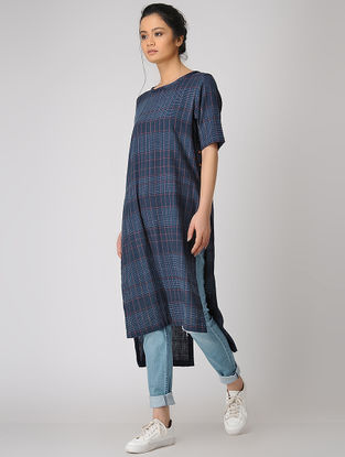 Blue Khadi Dress with Back Slit