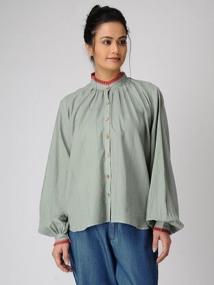 Green Pleated Collar Handloom Muslin Shirt