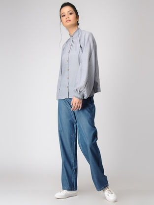 Grey Pleated Collar Jamdani Shirt