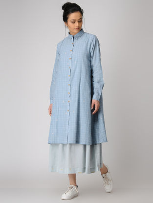 Blue Button-Down Checkered Jamdani Dress