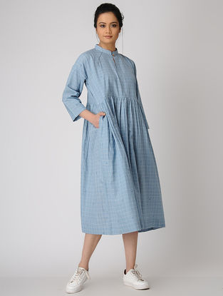 Blue Checkered Jamdani Dress with Pocket