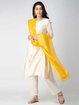 Yellow Maheshwari Dupatta with Zari Border