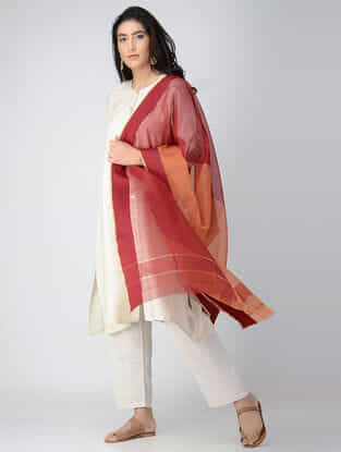Red-Orange Maheshwari Dupatta with Zari Border