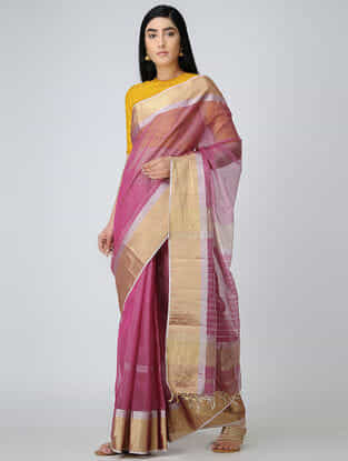 Pink Maheshwari Saree with Zari