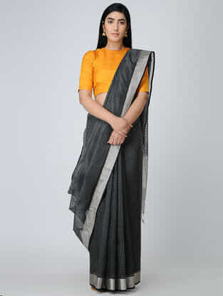 Black-Grey Maheshwari Saree with Zari