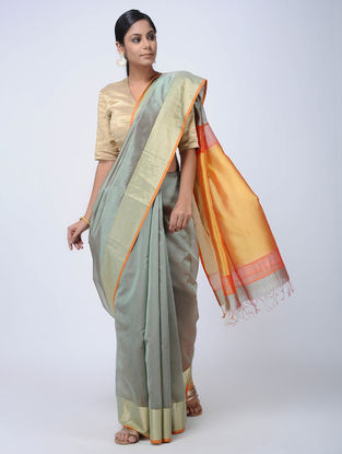 Grey Maheshwari Saree with Zari