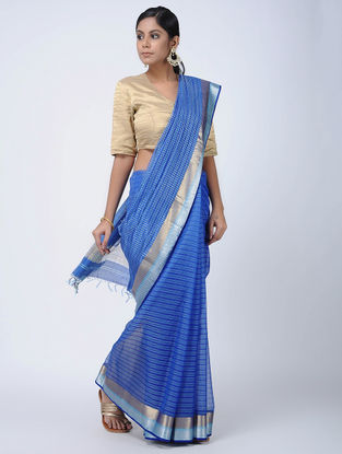 Blue Maheshwari Saree with Zari