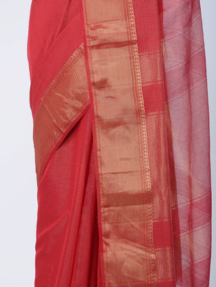 Red Maheshwari Saree with Zari